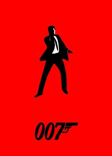 1980's Movie - JAMES BOND 007 RED MINIMALIST canvas print - self adhesive poster - photo print